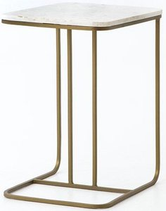 Four Hands Adalley Side Table Polished White Marble