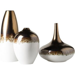 Ingram Vase White And Gold (Set of 3)