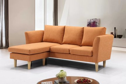Botein Modern Compact Reversible Sectional Orange