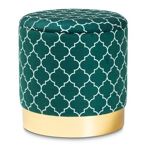 Baxton Studio Upholstered Storage Ottoman Teal And Gold