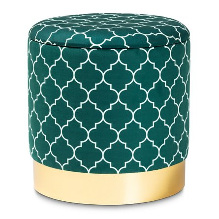Smirkie Upholstered Storage Ottoman Teal And Gold