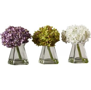 Flower Floral With Vase White, Purple And Green (Set of 3)