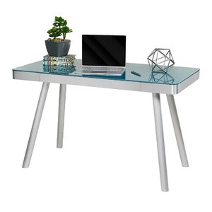 Zeller Glass Writing Desk Cool Blue And Silver