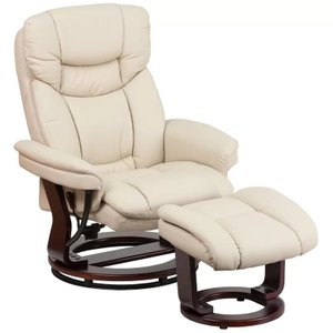 Darien Manual Swivel Recliner With Ottoman Beige