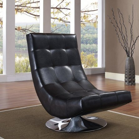 Arcturus Swivel Chair Black Bonded Leather