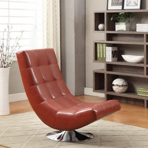 Arcturus Swivel Chair Red Bonded Leather