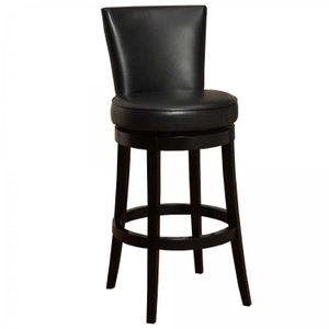 "Angetenar 30"" Swivel Barstool Black Leather"