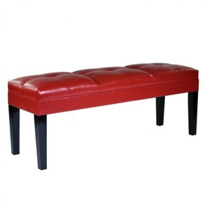Hutchinson Bench Red Bonded Leather