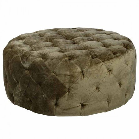 "Hercules 36"" Round Moss Green Fabric Ottoman"