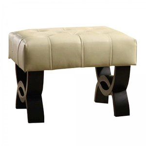 "Owen 24"" Tufted Cream Bonded Leather Ottoman"