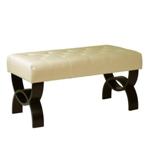 "Owen 36"" Tufted Cream Bonded Leather Ottoman"