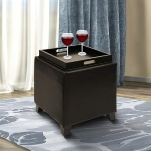 Canopus Ottoman Storage Brown Bonded Leather