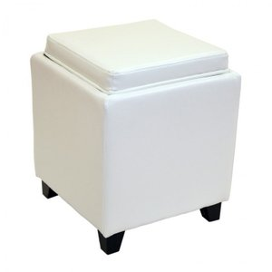 Canopus Ottoman Storage White Bonded Leather
