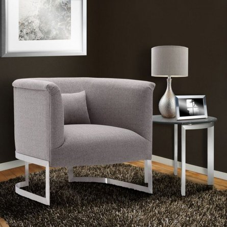 Asellus Primus Accent Chair in Brushed Steel Gray
