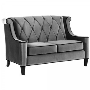 Heathcote Barrister Loveseat In Gray Velvet