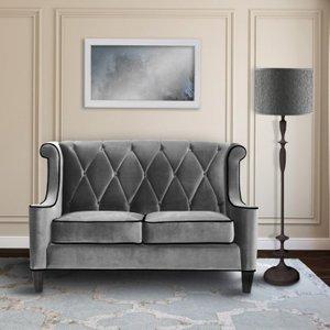 Heathcote Barrister Loveseat In Gray Velvet