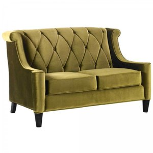 Heathcote Barrister Loveseat In Green Velvet