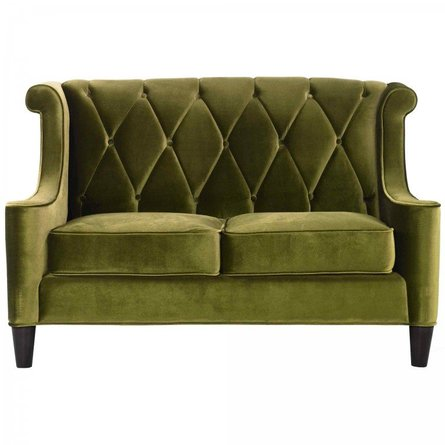 Heathcote Barrister Loveseat In Green Velvet