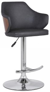 Aaron Mid-Century Adjustable Barstool Gray And Chrome