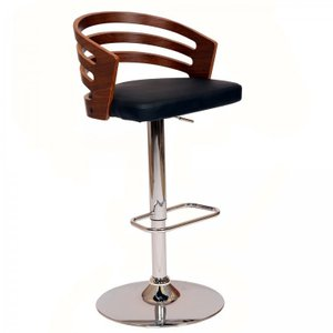 Antila Swivel Barstool In Black PU Chrome Base