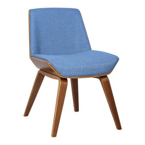 Aquila Mid-Century Side Chair Blue Walnut