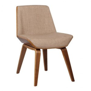 Aquila Mid-Century Side Chair Beige Walnut