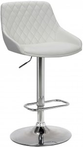 Anibal Contemporary Adjustable Barstool White And Chrome