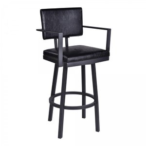 "Van 26"" Counter Height Barstool with Arms Black"