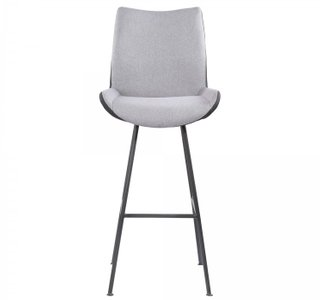 "Mekong Contemporary 30"" Counter Height Barstool Brushed Gray Pewter Fabric"
