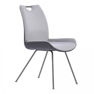Prut Contemporary Dining Chair Gray Pewter Fabric (Set of 2)