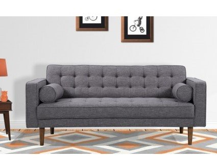 Achernar Mid-Century Modern Loveseat Dark Gray