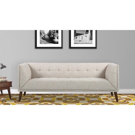 Gomti Mid-Century Button-Tufted Sofa Beige