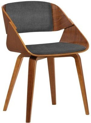 Lena Mid-Century Dining Chair Charcoal And Walnut