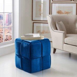 Loire Contemporary Short Ottoman Blue