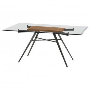 Kartong Contemporary Rectangular Dining Table Glass Walnut