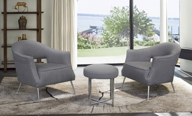 Canis Minor Contemporary Accent Chair Brushed Stainless Steel