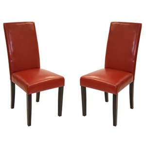 Red Bonded Leather Side Chair (Set of 2)
