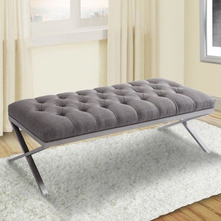Crater Bench Brushed Steel Gray