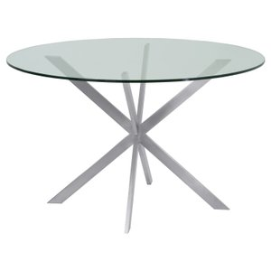 Hydrus Round Dining Table Brushed Stainless Steel