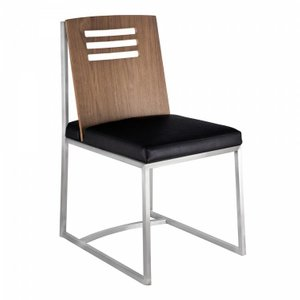 Pegasus Dining Chair In Brushed Stainless Steel Vintage Black