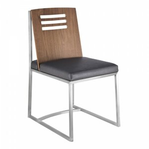 Pegasus Dining Chair In Brushed Stainless Steel Vintage Gray