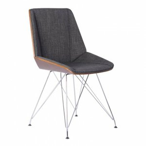 Perseus Chair In Chrome Charcoal Walnut