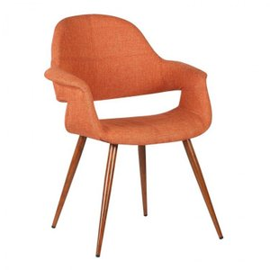 Puppis Mid-Century Dining Chair Orange Walnut