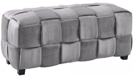 Ernesto Contemporary Long Ottoman Gray Velvet