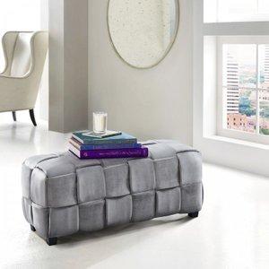 Ernesto Contemporary Long Ottoman Gray Velvet