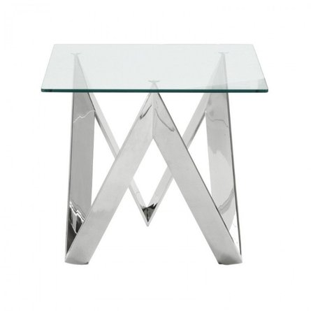 Isaac Contemporary Square End Table Glass