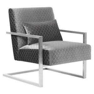 Sara Skyline Contemporary Accent Chair  Gray Velvet