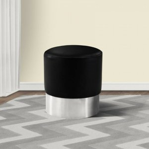 Rene Contemporary Round Ottoman Black