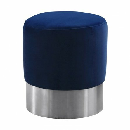 Sally Contemporary Round Ottoman Blue Velvet