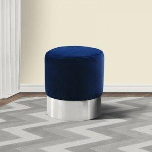Sally Contemporary Round Ottoman Blue Velvet